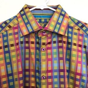 ROBERT GRAHAM Checked Button Up Shirt French Cuffs